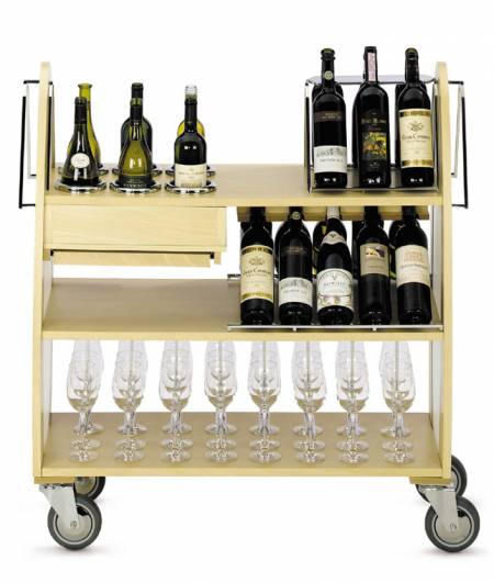 Stainless Steel & Wood Wine Trolley