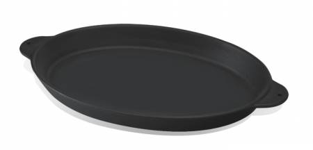15.5x29.5cm Fish Plate, with integral metal handles. Black silk matt enamel coat resulting in an excellent surface finish