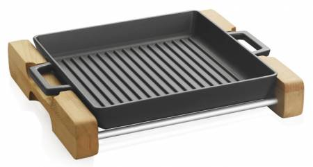 Wooden Stand holder only with handel recess . Natural colour wood holder for Eco 26cm grill pan