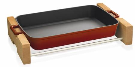 22x30cm Red Enamel Rectangular Dish and wooden service stand