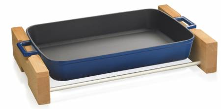 26x40cm Blue Enamel Rectangular Dish and wooden service stand