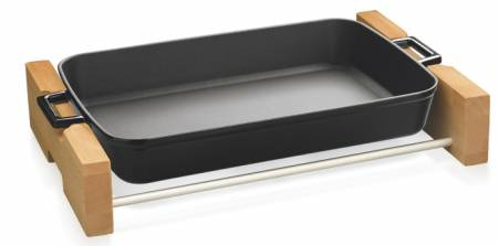 22x30cm Black Enamel  Rectangular Dish and wooden service stand