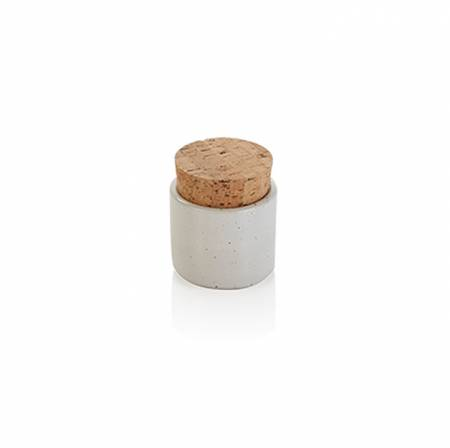 White Mustard Jar with Cork Lid