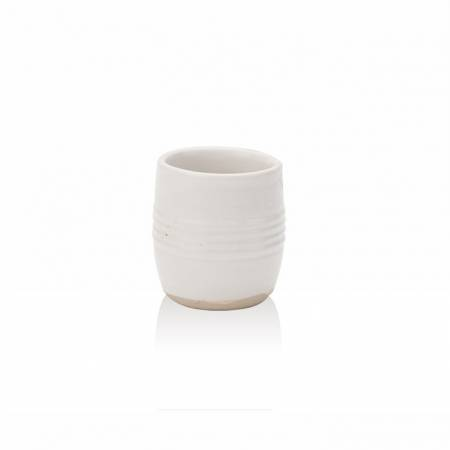 White Barrel Mustard Pot